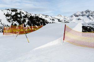 Den største kicker i Obertauerns snowpark er spærret af.