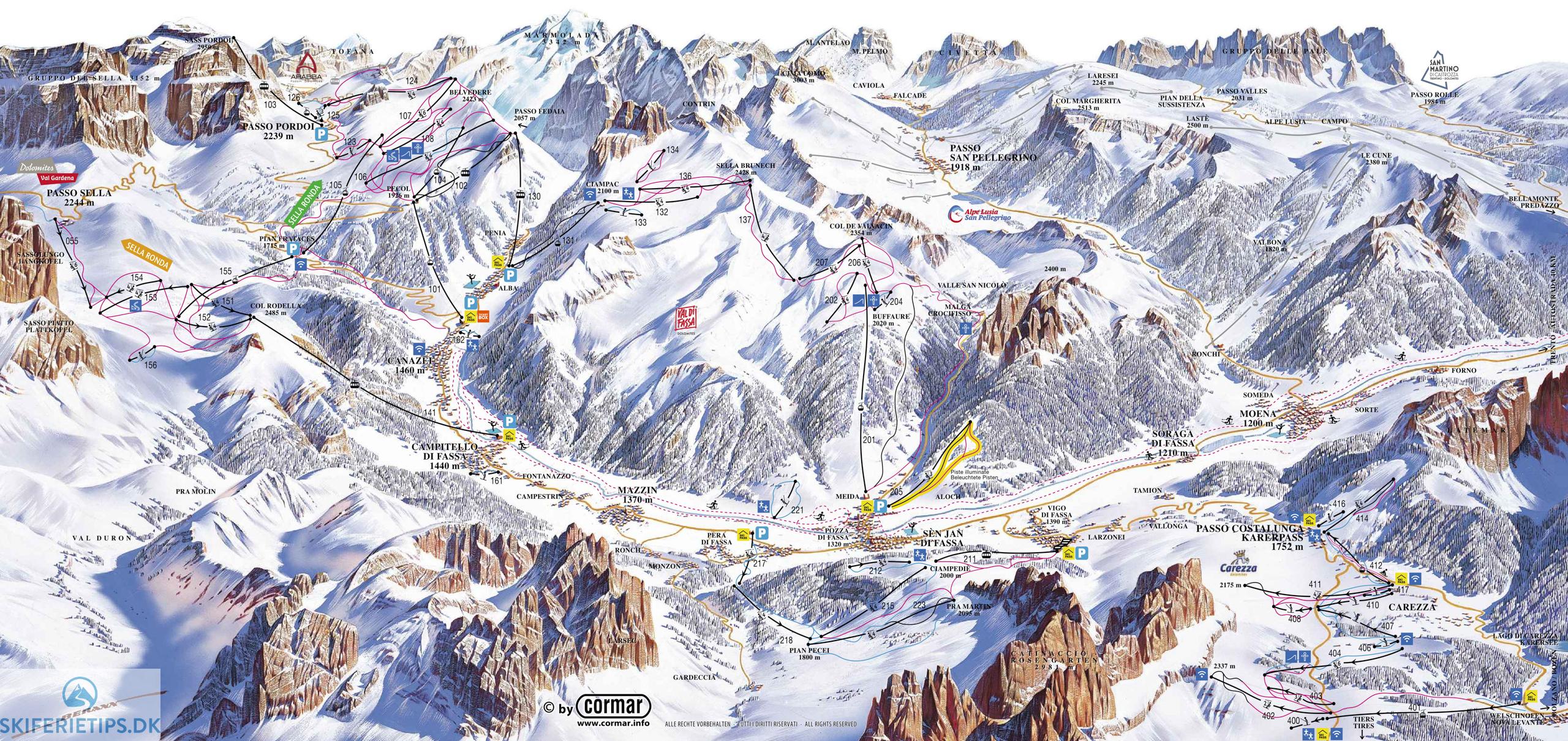 Canazei Pistekort Se Kort Over Pister Og Skilifter
