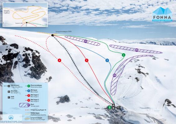 Pistekort FONNA Glacier Ski Resort