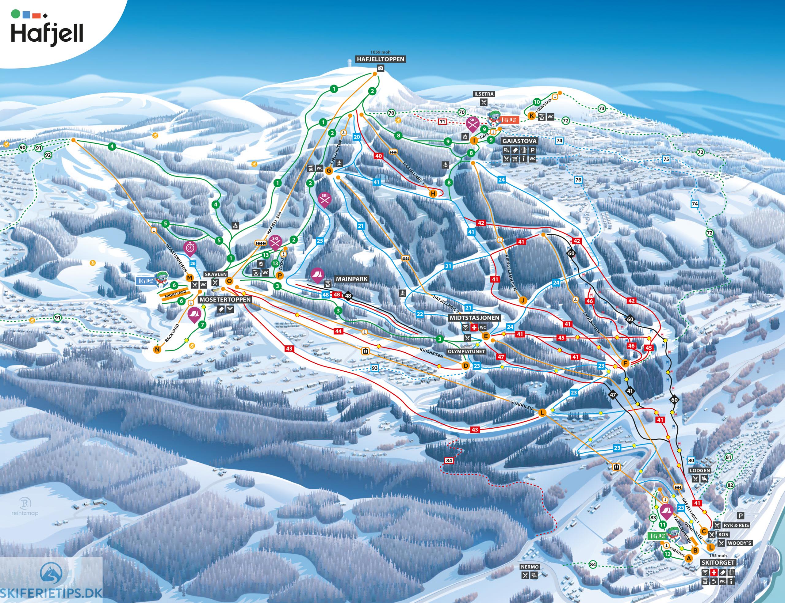 Hafjell Pistekort Se Kort Over Pister Og Skilifter