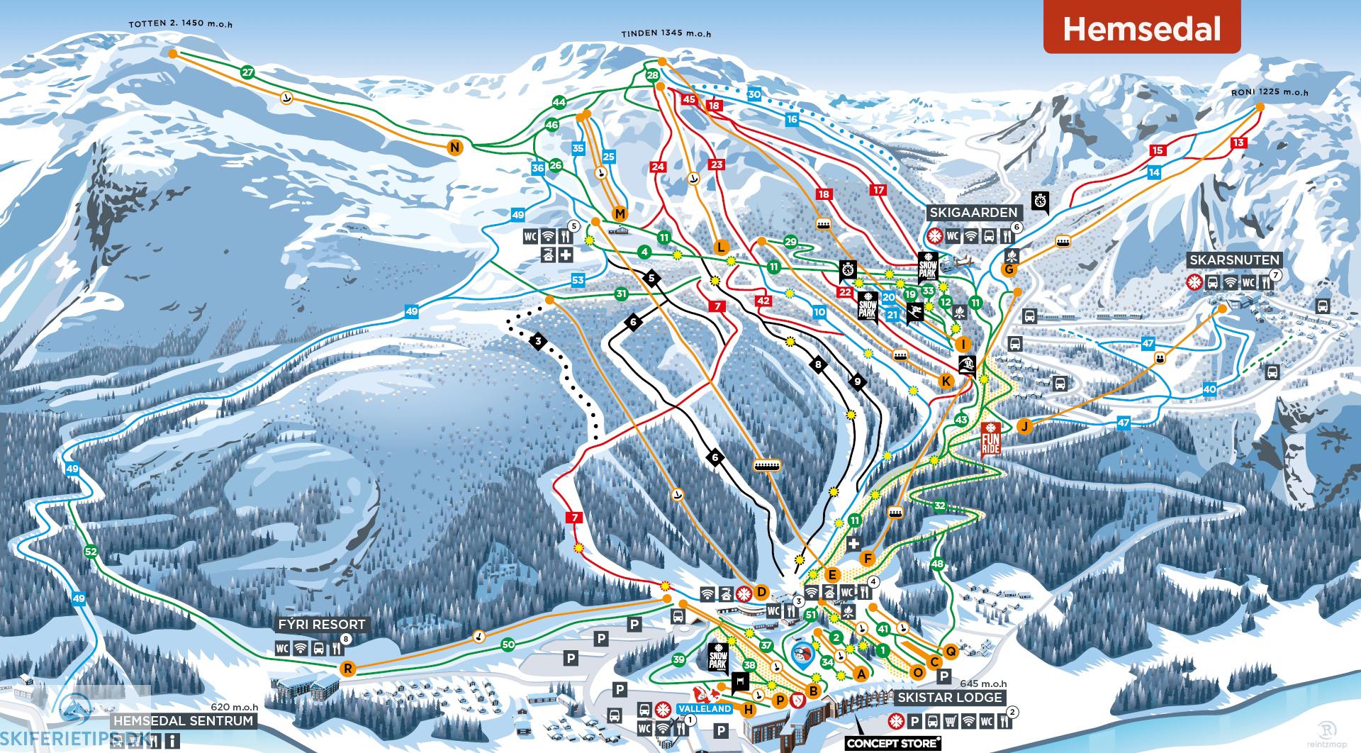 Hemsedal Pistekort Se Kort Over Pister Og Skilifter