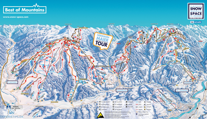 Wagrain Pistekort Se Kort Over Skiamade Omradet