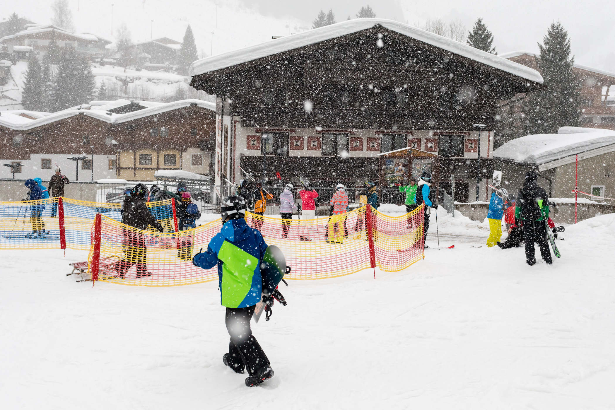 Heftigt snevejr over Hinterglemm og Hotel Pinzgauer Hof // Foto: Troels Kjems
