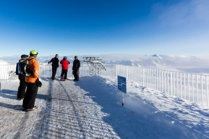 Udsigt fra Gaislachkogl toppen i Sölden, Østrig, 24. januar 2015.